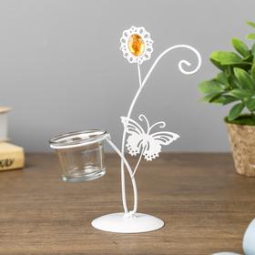 """Подсвечник металл, стекло 1 свеча """"Бабочка и цветок"""" белый 19,5х8х15,5 см"""