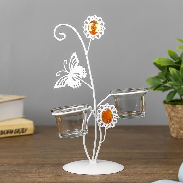 """Подсвечник металл, стекло 2 свечи """"Бабочка и цветок"""" белый 23,5х17,5х9,5 см"""