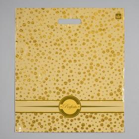 """Пакет """"Перфекто Голди"""", полиэтиленовый с вырубной ручкой, 42 х 48 см, 90 мкм"""