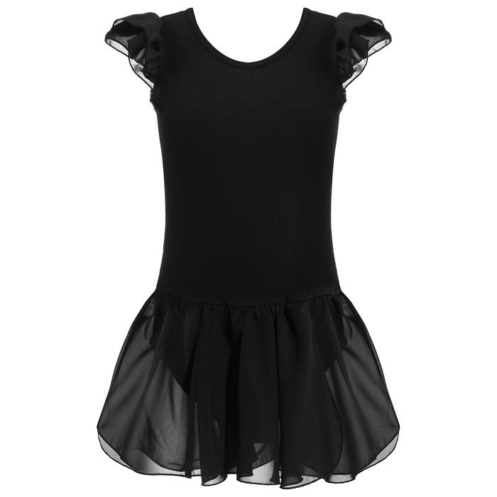Купальник гимнастический х/б с крылышками, юбка на запах (шифон), чёрный, размер 28