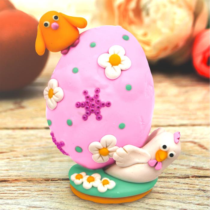 """Декор яиц полимерной глиной """"Курочка и цыпленок"""""""