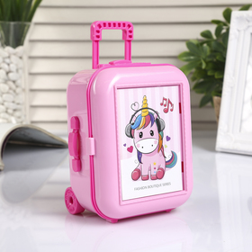 """Box musical mechanical plastic """"Suitcase with wheels"""", 14,5 × 11,5 × 7.8 cm, MIX"""