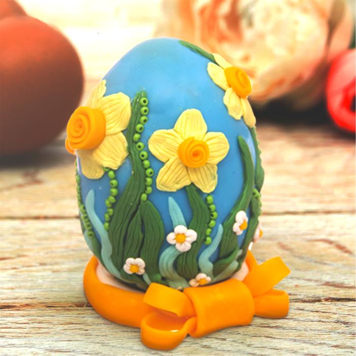 """Декор яиц полимерной глиной """"Нарциссы"""""""