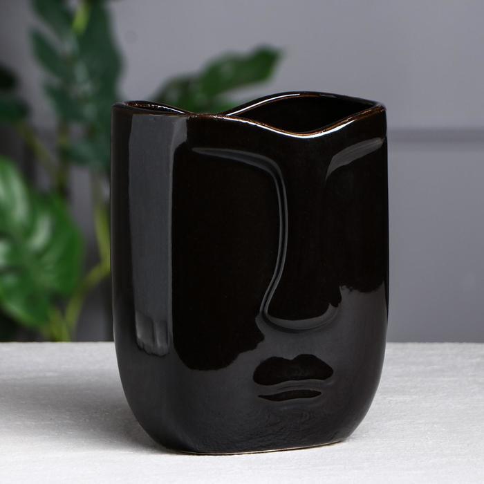 "Ваза настольная ""Лицо"", глянец, чёрная, 19 см, керамика"