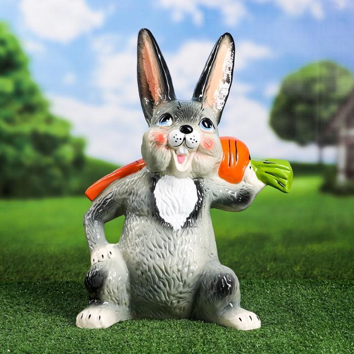 """Садовая фигура """"Заяц с морковкой"""", 42 см"""