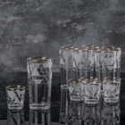 "Набор ""Кристалл"", 12 предметов: стаканы 200 мл 6 шт, стопки 50 мл 6 шт"