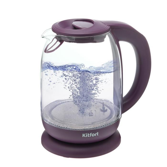 Чайник электрический Kitfort KT-640-5, стекло, 1.7 л, 2200 Вт, подсветка, фиолетовый - фото 932790