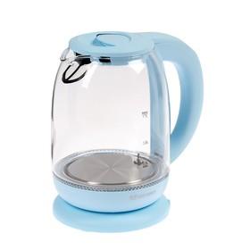 Чайник электрический Kitfort KT-640-1, стекло, 1.7 л, 2200 Вт, подсветка, голубой