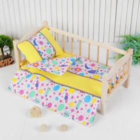 Постельное бельё для кукол «Ракеты», простынь, одеяло, подушка, цвет розовый