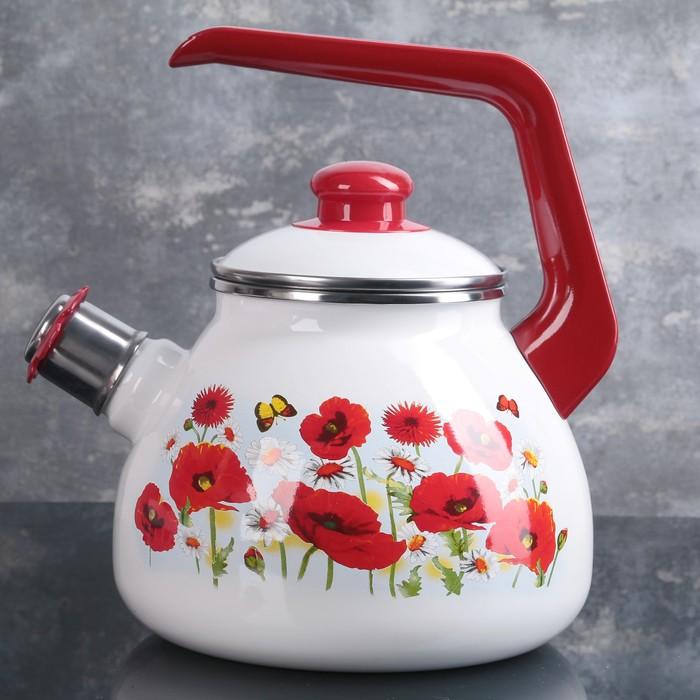 Чайник «Маки», 3 л, со свистком, эмалированная крышка