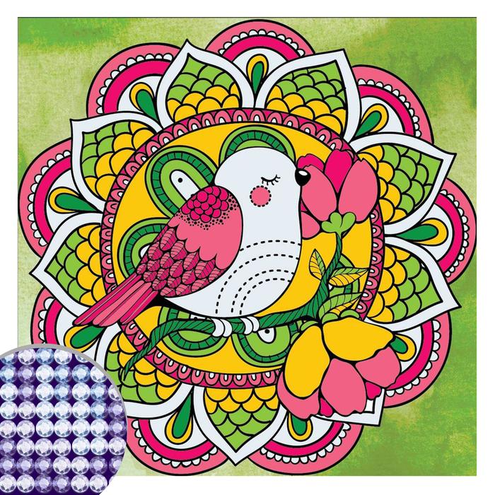 Алмазная вышивка мандала «Птичка» с частичным заполнением, 20 х 20 см. Набор для творчества
