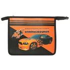 Папка для тетрадей А5 молния сверху, ламинированный картон, для мальчика «Канцбург» «Оранжево-чёрный авто», эффект 3D 31Ш5