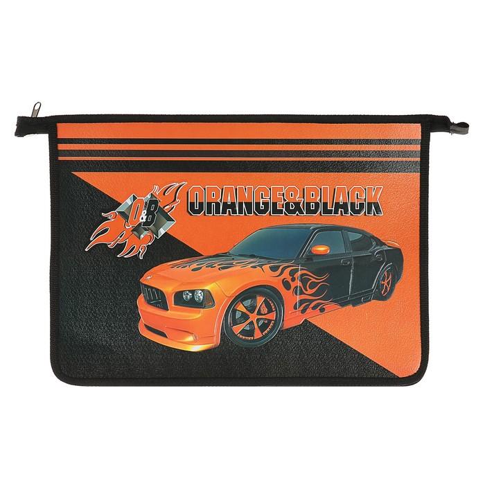 Папка для тетрадей А4 молния сверху, «Оранжево-чёрный авто», эффект 3D объёмный рисунок, 31Ш4