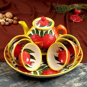 Набор чайный 9 предметов Риштанская Керамика (Чайник 1 л, пиалы 0,5/0,3 л)