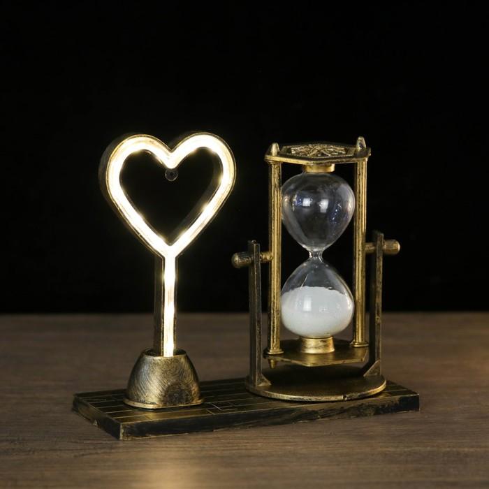 """Часы песочные """"Любовь"""", 15.5х6.5х16 см, с подсветкой,  микс"""