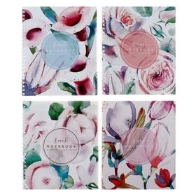 Тетрадь 48 листов в клетку, на гребне «Флора Арт», обложка мелованный картон, выборочный лак, МИКС