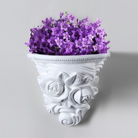 "Кашпо ""Розы"", белый цвет, 16 х 12 см"