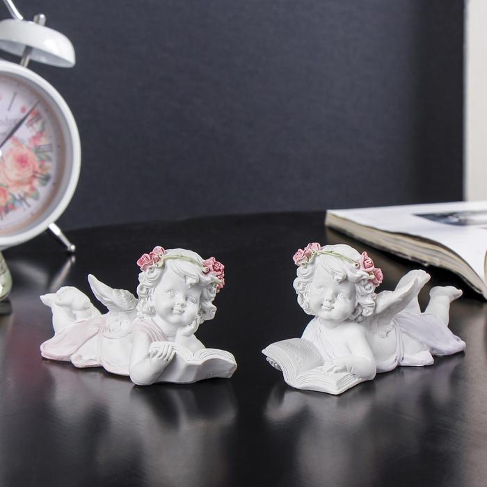 """Сувенир полистоун """"Белый ангел в розовом венке, цветном платье с книгой"""" МИКС 5,5х4,5х11 см - фото 798174283"""
