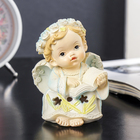"""Сувенир полистоун свет """"Ангел в цветочном венке и резном платье с книгой"""" 10,7х7,8х5,3см"""