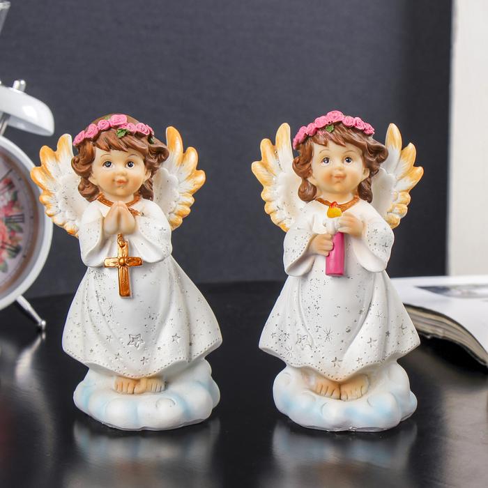 """Сувенир полистоун """"Ангел в розовом венке на облаке со свечой/крестом"""" МИКС 12,9х8х6,5 см"""