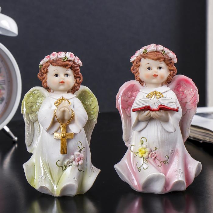 """Сувенир полистоун """"Ангел в нежном платье в розовом венке с крестом/книгой"""" МИКС 12х7х6,5см"""