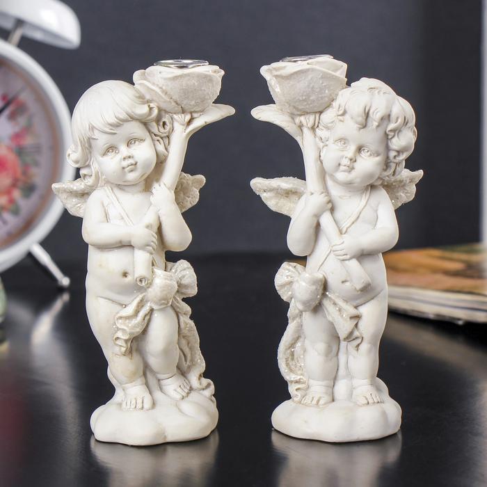 "Сувенир полистоун ""Ангел с большой розой в руках"" МИКС 11,7х5,4х4 см"