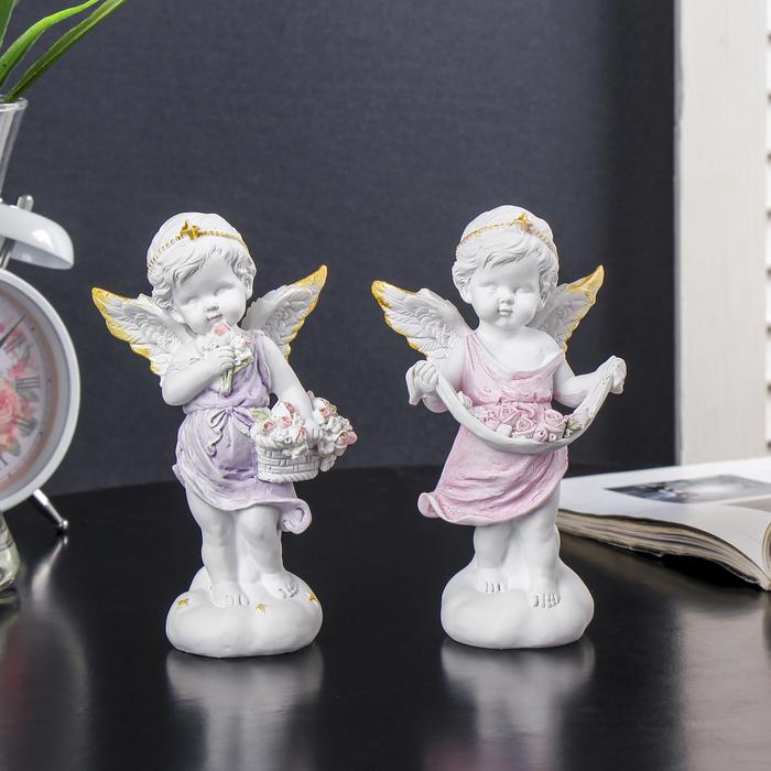"""Сувенир полистоун """"Белый ангел с розами с золотым ободком в нежном платье"""" МИКС 15х8,5х5 см"""