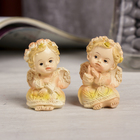 "Souvenir Polyresin ""angel in floral wreath and carved dress thoughtful"" MIX 4,7х3х3,2 cm"