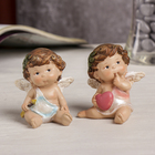 "Souvenir Polyresin ""angel-baby with leaves in her hair with a heart/arrow"" MIX 6,5х6х4,5 cm"