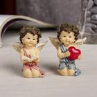 """Сувенир полистоун """"Ангел в рябиновом веночке с сердцем/книгой"""" МИКС 6х5х3,5 см"""