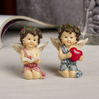 "Souvenir Polyresin ""angel in the mountain wreath by heart/book"" MIX 6х5х3,5 cm"