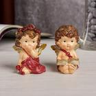 """Сувенир полистоун """"Застенчивый ангел с книгой/розой"""" МИКС с золотом 7х5,4х3,8 см"""