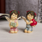 "Souvenir Polyresin ""angel in wreath with roses heart/the gift"" MIX 8,5х6х4,5 cm"