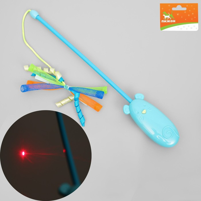 Дразнилка для кошек с лазером и ручкой-мышкой, 30,5 см, микс цветов