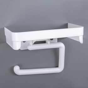 Toilet roll holder with shelf, white