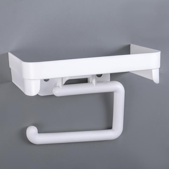 Держатель для туалетной бумаги с полочкой, цвет белый - фото 4648943