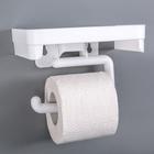 Держатель для туалетной бумаги с полочкой, цвет белый - фото 4648944