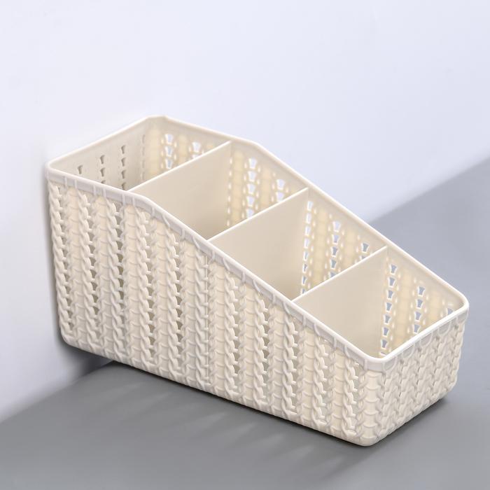 Органайзер IDEA «Вязание», 4 секции, цвет белый ротанг - фото 308333335