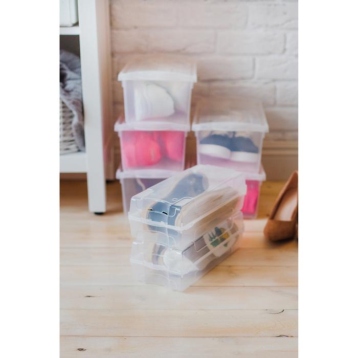 Короб для хранения обуви, 32×14,2×10,5 см, цвет прозрачный - фото 308334329
