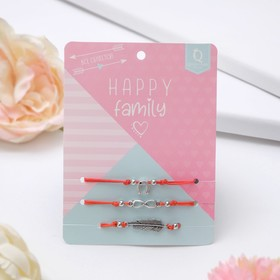 Bracelet charm Happy family everything is done, set 3 pieces color red