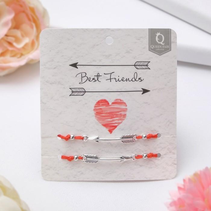 Браслет-оберег In love лучшие друзья, набор 2 штуки, цвет красный,d=5,5см