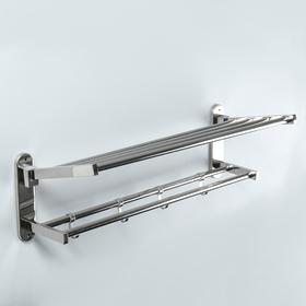 Полка откидная с держателем полотенец, 4 крючка, 57×23×18 см