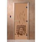 Дверь «Банька», размер коробки 200 × 80 см, левая, цвет матовая бронза