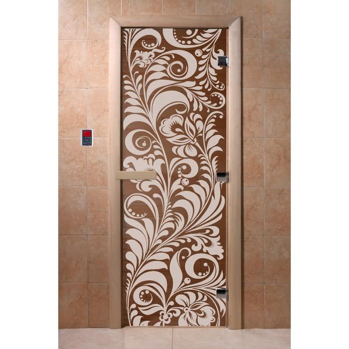 Дверь для бани и сауны стеклянная «Хохлома», 190×70см, 8мм, бронза