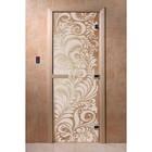 Дверь «Хохлома», размер коробки 190 × 70 см, левая, цвет прозрачный