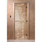 Дверь «Весна цветы», размер коробки 200 × 80 см, левая, цвет прозрачный