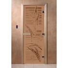 Дверь «Листья», размер коробки 190 × 70 см, левая, цвет матовая бронза