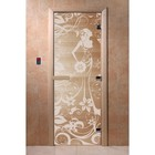 Дверь «Девушка в цветах», размер коробки 200 × 80 см, левая, цвет прозрачный