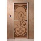 Дверь «Посейдон», размер коробки 200 × 80 см, правая, цвет матовая бронза