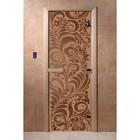 Дверь для сауны «Хохлома», коробка 200 × 80 см, левая, цвет матовая бронза